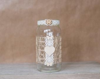 Rustic Heart butterfly Jar - Large