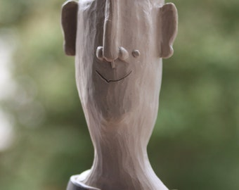 Head made of clay, ceramic, hand shaped and carved, Frost Hardy