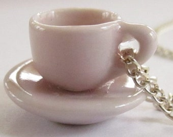 Soft Pink Teacup Necklace