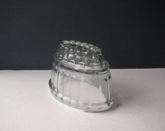 Large Vintage Glass Jelly Mould, Clear Glass Jelly Mould, Blancmange Mould, 1950s, 1960s, Vintage Mould, Retro Jelly Mould, Kitchenalia