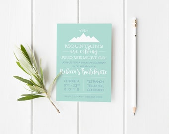 Mountain Weekend Invitation Party Printable-Cabin Weekend Invitation Printable, Invitations, Bachelorette Birthday Party Invitation Template
