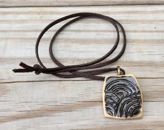 ceramic pendant | ceramic necklace | black necklace | handmade necklace | carved pendant | black jewelry | handmade jewelry | unique gift