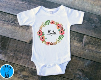 Custom Baby Name Bodysuit, Custom Bodysuit, Custom Baby Gift, Floral Baby Clothes, Baby Shower Gift, Personalized,Floral Wreath V3