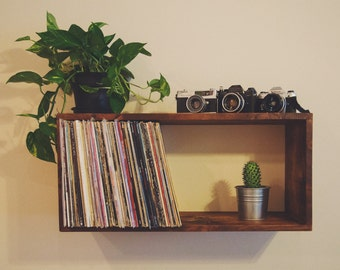 Reclaimed Wood Floating Record Shelf / Bookcase