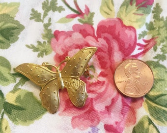 Vintage Gold Tone Butterfly Brooch