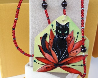 """Necklace with pendant handpainted """"Shadow and the Lotus"""" original black cat flower design"""