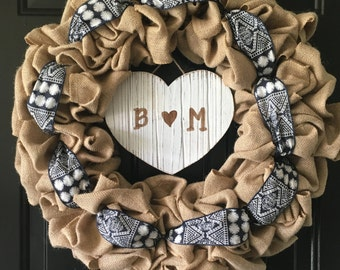Burlap Wreath - Patterned Ribbon Accent - 18 inches