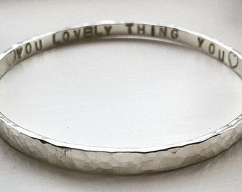 Bespoke hammered silver bangle
