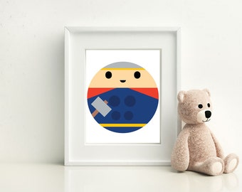 Thor Little Boy- Nursery and Children's Room art print