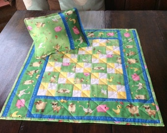 Hand made Farm Yard Patchwork Dolly Quilt and Pillow.Small Quilt.Animal Quilt.Pillow.Dolls Bedding.Yellow Quilt.