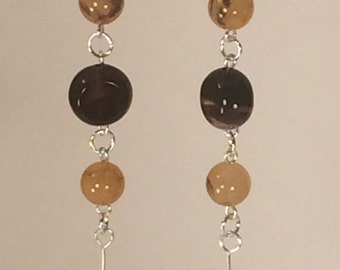 Drop Earrings in Brown and Gold