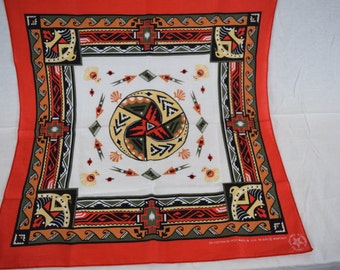 Vintage Bandana Unique Native Indian Design / Made in USA