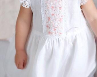 Flower Girl Dress, Lace Flower Girl Dress, White Flower Girl Dress, Lace Baby Dress, Country Flower Girl Dress Lace