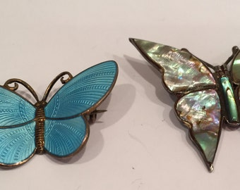 Vintage Silver Butterfly Pins- Norway and Mexico