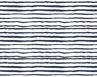 Abstract Stripe Navy Quilting Fabric. Fabric by the Yard. Woodland Fabric. Navy Fabric. Stripe Fabric. Boy Nursery Fabric Knit Jersey Fabric