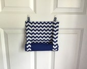 ROMAN SHADE/CURTAIN for Teacher Classroom Door - Privacy/Safety/Lockdown - Blue Chevron with Blue Back