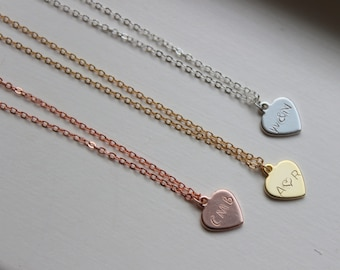 Dainty Heart Necklace Personalized Heart Jewelry - Anniversary Gift - Christmas Gift - Initial Letter Bridesmaid Gift Hand Stamped Necklace