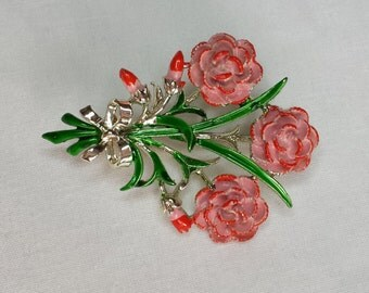 Pink Floral 1950's Carnation Brooch by Exquisite