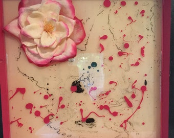 Pink and Cream Rose in Multi-Layer Resin