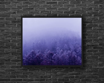 Foggy Forest Photo - Misty Forest Photo - Misty Landscape - Purple - Fog - Forest Print - Forest Wall Art - Forest Wall Decor