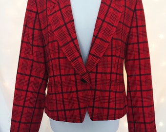 Petite Plaid Blazer with Single Button Closure - Plus Size Vintage Petite Red and Black Coat Jacket