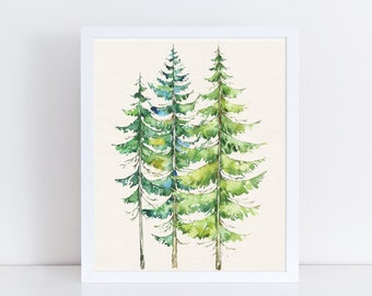 Watercolor Evergreen Trees Printable Art Print 8x10. 5x7 Forest Printable, Mountain Landscape Wall Art, Digital Download, Cabin Home Decor
