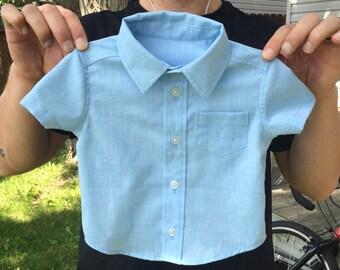 Boys' Blue Short-Sleeved Dress Shirt 3-6 months