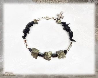 "Hematite and Magnetite Bracelet with Bronze Cross, 7.5"",  Black, Gold, Homemade, Jewellery, Jewelry, Beads, Women's, Unisex, Rocks"