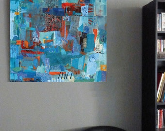 Large print, abstract art, mosaic, ink jet, turquoise blue, contemporary painting, collage, modern fine art, giclee, decorative, acrylic