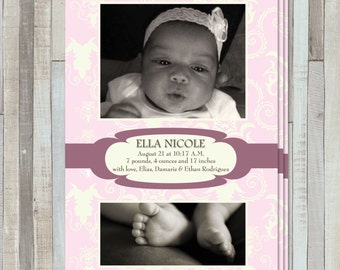 Pink Damask New Baby Birth  Announcement