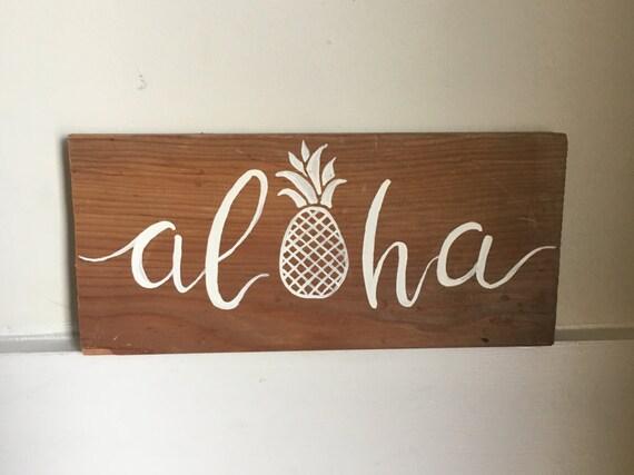 Aloha Pineapple Cute Beach Sign Wooden Wall Art Decor