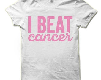 I Beat Cancer T-Shirt. Breast Cancer Awareness Shirts.