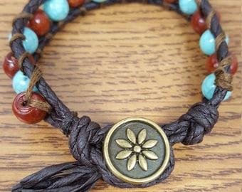 Turquoise/Brown Button Closure Natural bracelet