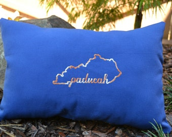 Embroidered Paducah Pillow (blue with brown lettering)