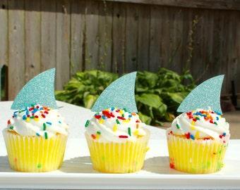 Set of 12 Glitter Shark Fin Cupcake Toppers