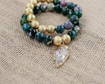 Faceted Green Moss Agate Bracelets