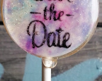Save The Date Lollipops, Custom Colors, Wedding, Bridesmaids, Wedding Inivite Favors, Set of 10, Hand Painted