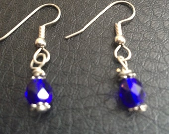 Cobalt Blue Bead Earrings