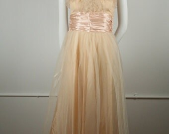 1950s Blush Tulle Rockabilly Dress