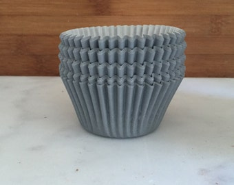 Solid Grey BakeBright Cupcake Liners, Taller Sized, Baking Cups (30)