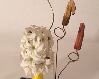 Reclaimed Wood Sculpture with Bud Vasee