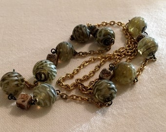 Vintage Lampwork Glass Bead Necklace