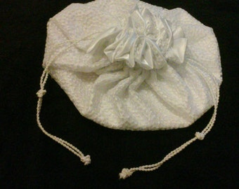 White Satin Drawstring with Lace Overlay