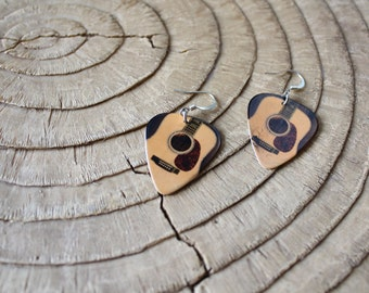 Guitar Pick Jewelry - Earrings - Acoustic Guitar - Music