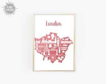 London England Poster Print Wall Art Map Modern United Kingdom UK