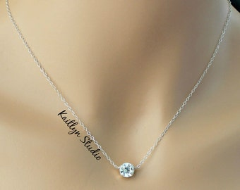 Floating Crystal Necklace, Sterling Silver, Dainty Tiny Necklace, Layering Necklace, CZ Diamond Chain, Anniversary Birthday Bridesmaid Gift
