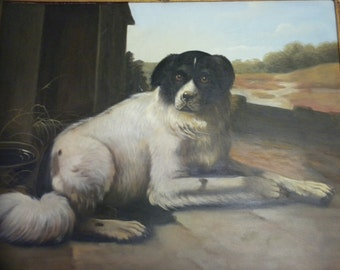 Vintage Oil painting transfer on canvas of beautiful dog. M. Morgan
