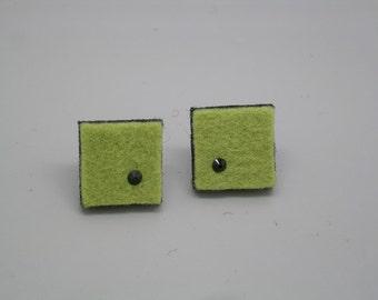 Squares of lichen green felt earrings