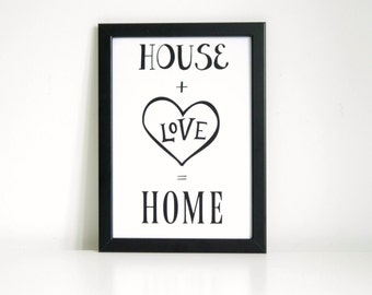 House + Love = Home Wall Art Print