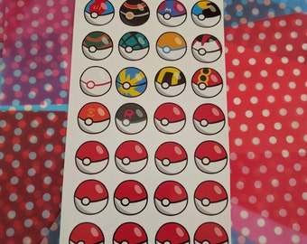 Pokemon Pokeball Sticker Sheet